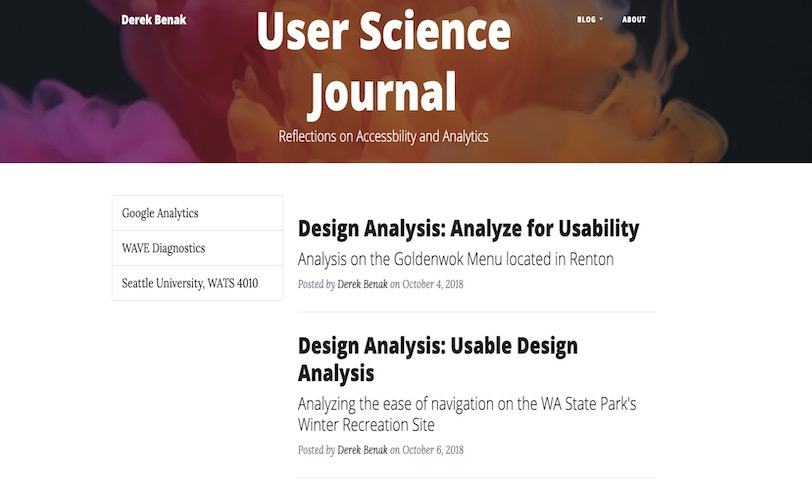 The homepage for my WATS 4010 User Science Journal